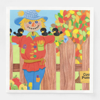 scarecrow fence scene i paper napkin