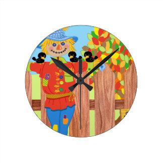 scarecrow fence scene i round clock