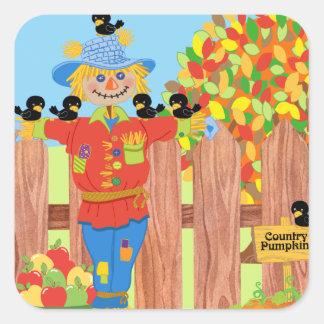 scarecrow fence scene i square sticker