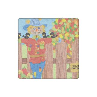 scarecrow fence scene i stone magnet
