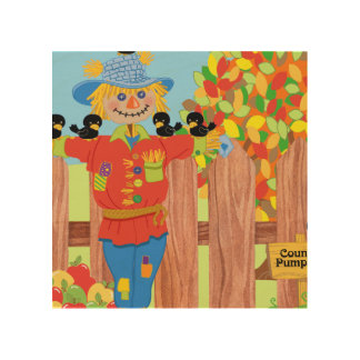 scarecrow fence scene i wood wall decor