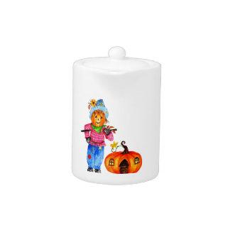 Scarecrow Guarding Halloween Pumpkin