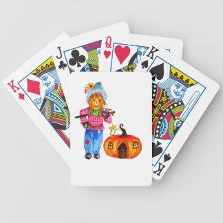 Scarecrow Guarding Halloween Pumpkin Bicycle Playing Cards