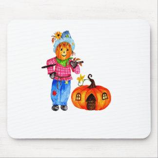 Scarecrow Guarding Halloween Pumpkin Mouse Pad