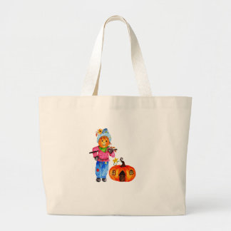 Scarecrow Guarding Pumpkin Large Tote Bag