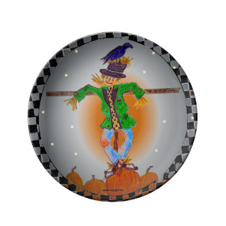 Scarecrow Hangin' in a Pumpkin Patch Porcelain Plate