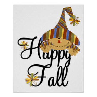 Scarecrow Happy Fall Poster