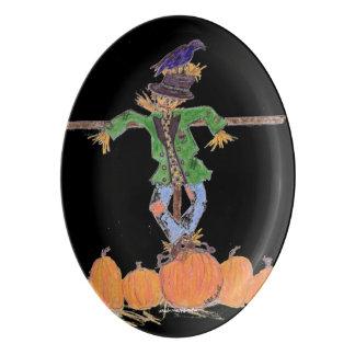Scarecrow Harvest Platter Porcelain Serving Platter