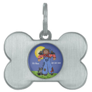 Scarecrow in blue Jeans Cat Crows Yellow Moon Pet Name Tag