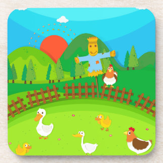 Scarecrow in the field full of ducks and chicken drink coasters