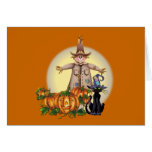 SCARECROW, JACK & CAT by SHARON SHARPE Greeting Cards
