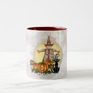 SCARECROW, JACK & CAT by SHARON SHARPE Two-Tone Coffee Mug