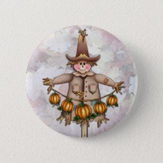 SCARECROW & PUMPKIN GARLAND by SHARON SHARPE 6 Cm Round Badge