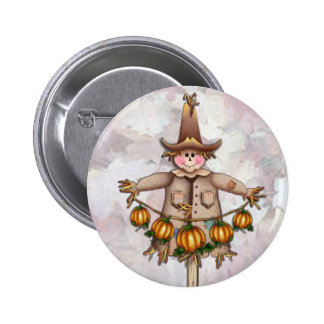 SCARECROW & PUMPKIN GARLAND by SHARON SHARPE 6 Cm Round Badge