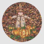SCARECROW & PUMPKIN PATCH by SHARON SHARPE Round Stickers