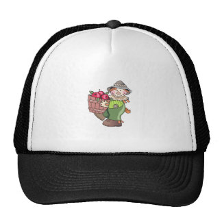 SCARECROW WITH APPLES TRUCKER HAT