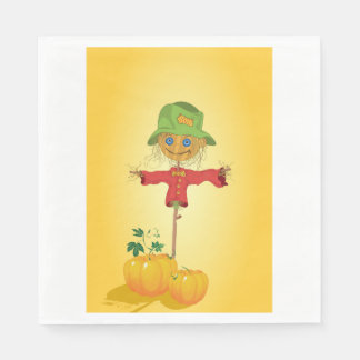 Scarecrow With Pumpkins Paper Napkins Disposable Serviette