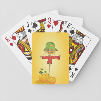 Scarecrow With Pumpkins Playing Cards