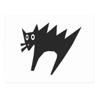 Scared Cat Cartoon, Halloween Postcard