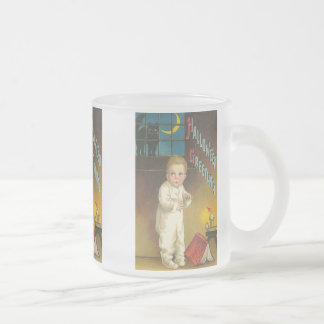 Scared Child With Cat in Window Halloween Mug
