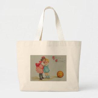 Scared Children Smiling Jack O' Lantern Pumpkin Jumbo Tote Bag