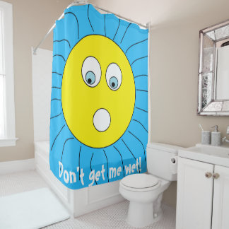 Scared Expression Sun Face Drawing Blue Shower Curtain
