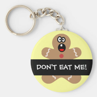 Scared Gingerbread Men the Best Christmas Guests Basic Round Button Key Ring