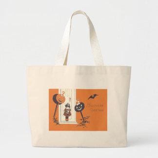 Scared Girl Jack O' Lantern Pumpkin Bat Jumbo Tote Bag