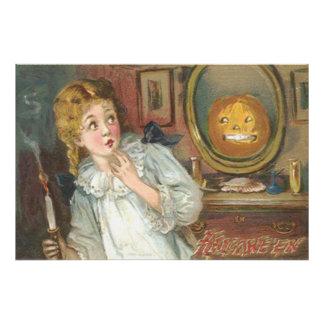 Scared Girl Smiling Jack O' Lantern Pumpkin Photo Art