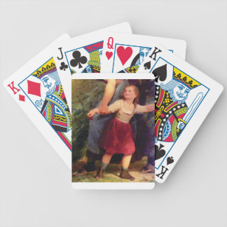 scared little girl bicycle playing cards