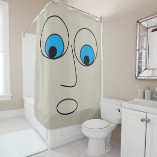Scared Man Face Drawing Hilarious Shower Curtain