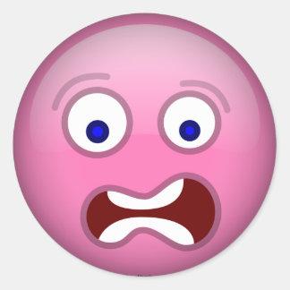 Scared Purple Classic Round Sticker