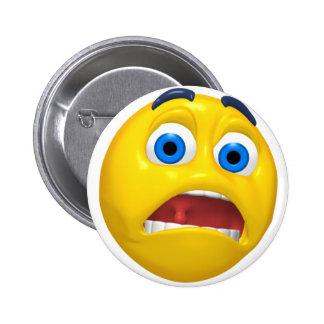 scared smiley 6 cm round badge