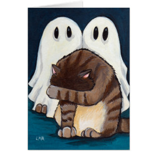 Scared Tabby Cat & Spooky Ghosts | Halloween Card