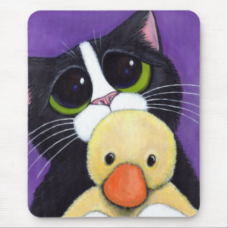 Scared Tuxedo Cat and Cuddly Duck Painting Mouse Pad