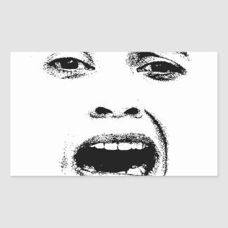 Scared Woman Expression Rectangular Sticker