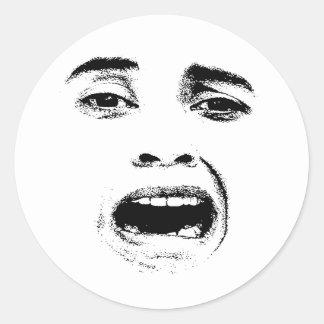 Scared Woman Expression Round Sticker