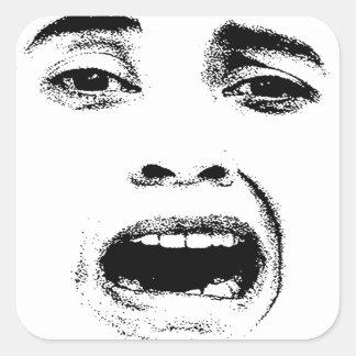 Scared Woman Expression Square Sticker