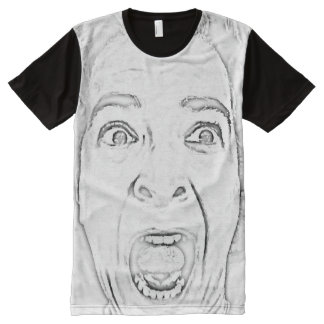 Scared Woman's Face Design Hilarious All-Over Print T-Shirt
