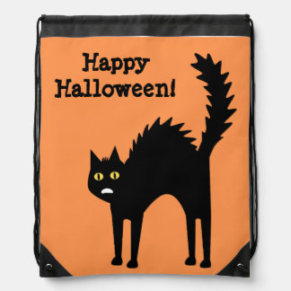 Scaredy Cat Halloween Cartoon Drawstring Bag