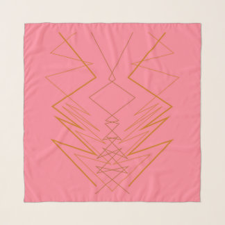 Scarf with Mandalas gold pink ethno