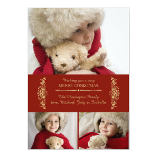 Scarlet and Gold Holiday Photo Card