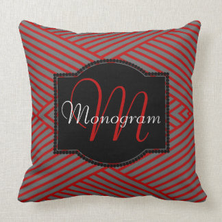 Scarlet and Gray Stripe Design with Monogram Cushion