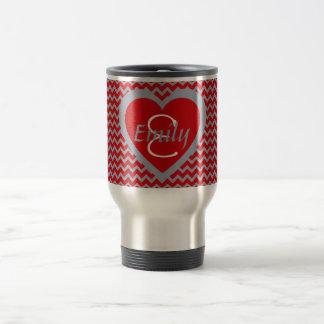 Scarlet and Grey  Monogram Travel Mug
