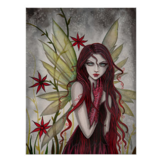 Scarlet Fairy Fantasy Art by Molly Harrison Poster