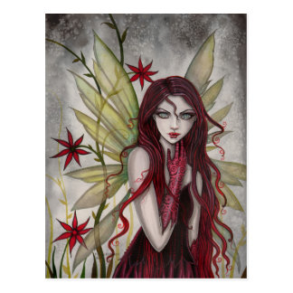 Scarlet Flower Fairy Fantasy Art by Molly Harrison Postcard