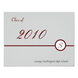 Scarlet & Grey Monogram Photo Invitation
