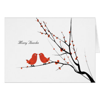 Scarlet Lovebirds Personalized Photo Thank You Card