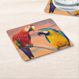 Scarlet Macaw and Blue-and Yellow Macaw Square Paper Coaster