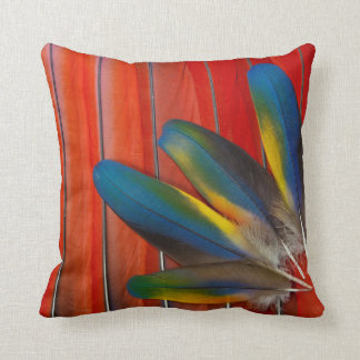 Scarlet Macaw Feather Design Cushion